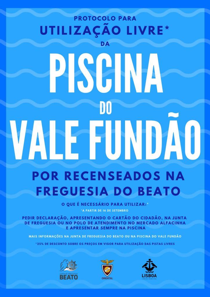 Protocolo para utilização livre da Piscina do Vale Fundão