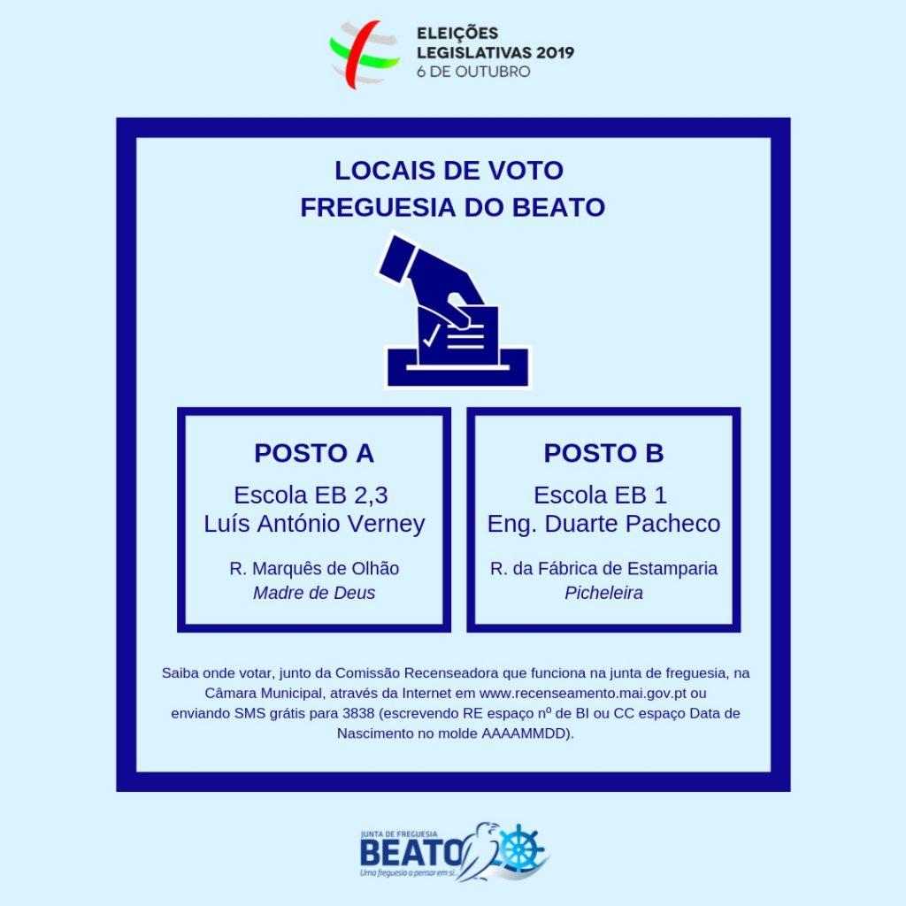 Eleições Legislativas 2019 – Locais de voto na Freguesia do Beato