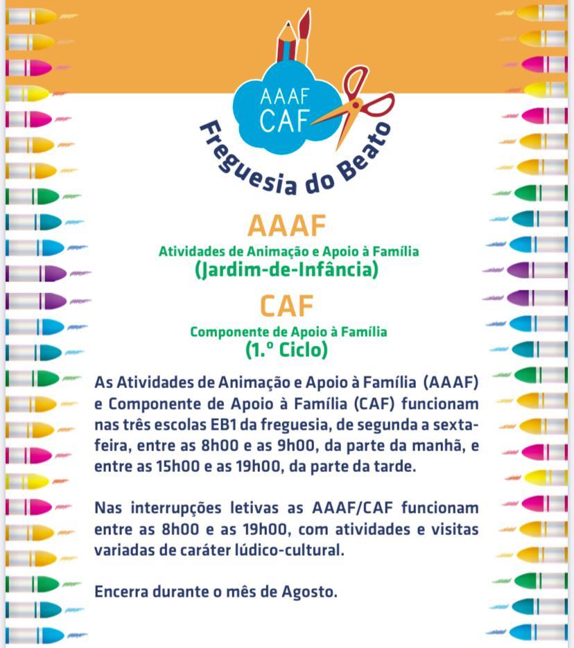 INSCRIÇÕES PARA AS AAAF/CAF 2020/2021 A PARTIR DE 7 DE SETEMBRO