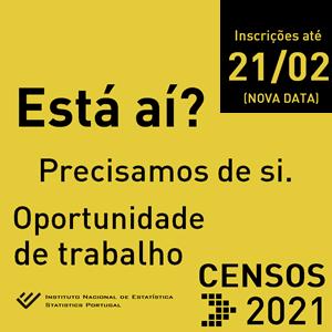 RECRUTAMENTO – CENSOS 2021 – Inscrições Abertas